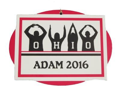O-H-I-O OSU Buckeyes personalized ornament handcrafted in wood by The Cat's Meow Village.