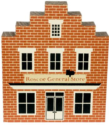 "Vintage Roscoe General Store from Roscoe Village Series handcrafted from 3/4"" thick wood by The Cat's Meow Village in the USA"