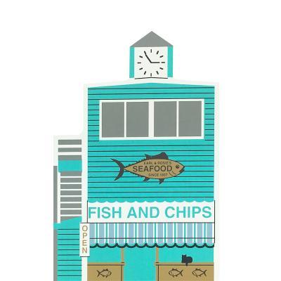 "Vintage Rosie's Fish & Chips from Series XIV handcrafted from 3/4"" thick wood by The Cat's Meow Village in the USA"