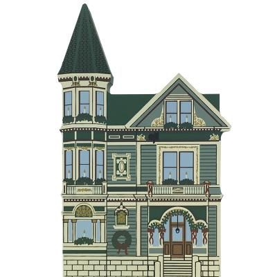 "Vintage Spencer House Bed & Breakfast from San Francisco Christmas Series handcrafted from 3/4"" thick wood by The Cat's Meow Village in the USA"