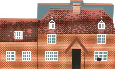 "Red House, Newbury, England from Great Britain Series handcrafted from 3/4"" thick wood by The Cat's Meow Village in the USA"