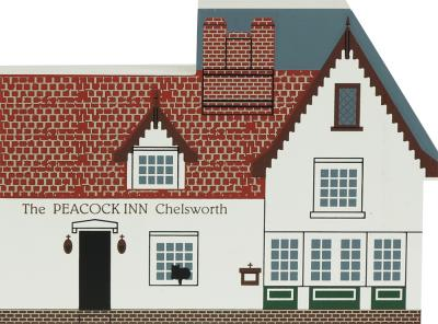 "The Peacock Inn, Chelsworth, England from Great Britain Series handcrafted from 3/4"" thick wood by The Cat's Meow Village in the USA"