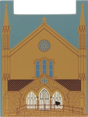 "Baptist Church, Chipping Norton, England from Great Britain Series handcrafted from 3/4"" thick wood by The Cat's Meow Village in the USA"