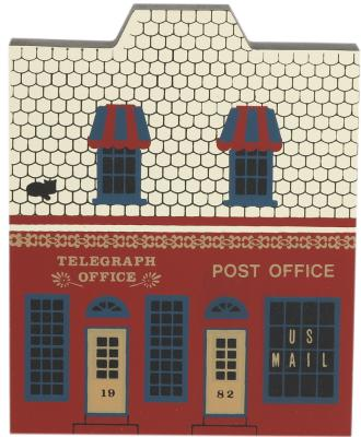 """Vintage Telegraph Office & Post Office from Main Street Series handcrafted from 3/4"""" thick wood by The Cat's Meow Village in the USA"""