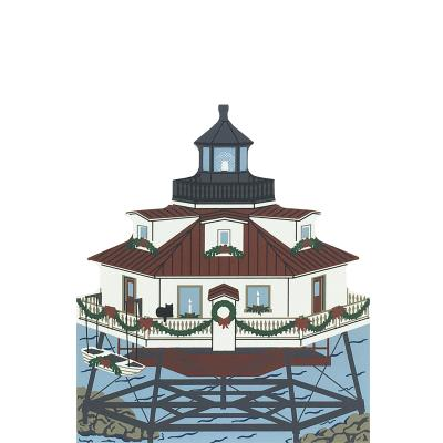 """Vintage Thomas Point Light from Annapolis Christmas Series handcrafted from 3/4"""" thick wood by The Cat's Meow Village in the USA"""