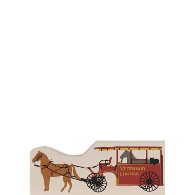 """Vintage Veterinary Hospital Wagon from Accessories handcrafted from 1/2"""" thick wood by The Cat's Meow Village in the USA"""