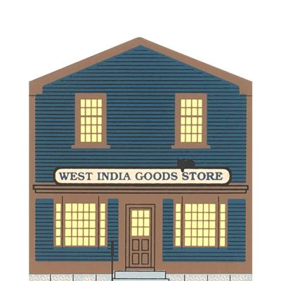 "Vintage West India Goods Store from Market Street Series handcrafted from 3/4"" thick wood by The Cat's Meow Village in the USA."