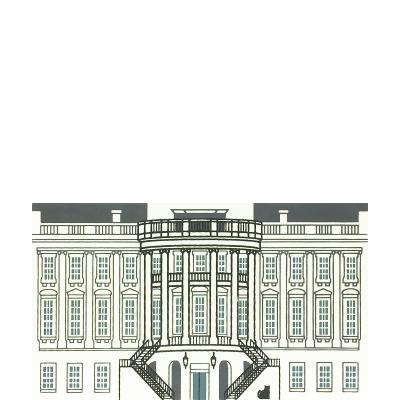 """Vintage The White House from Washington D.C. Series handcrafted from 3/4"""" thick wood by The Cat's Meow Village in the USA"""