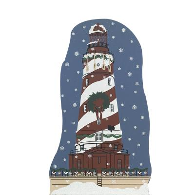 "Vintage White Shoal Light from Lighthouse Christmas Series handcrafted from 3/4"" thick wood by The Cat's Meow Village in the USA"