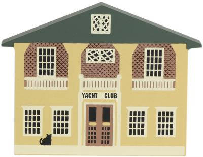 "Vintage Yacht Club from Nautical Series handcrafted from 3/4"" thick wood by The Cat's Meow Village in the USA"