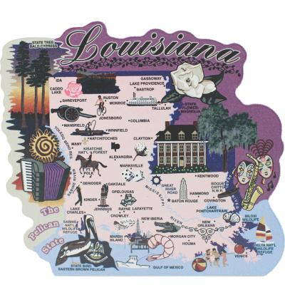 Add this wooden state map of Louisiana to your home decor, handcrafted in the USA by The Cat's Meow Village