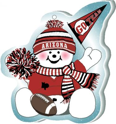 "Cheer on your Arizona team with this adorable snowman ornament waving his Go Team pennant, handcrafted in 1/4"" thick wood by The Cat's Meow Village. Made in the USA!"
