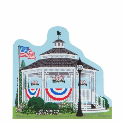 Patriotic Summer gazebo for your Cat's Meow collection. handcrafted by The Cat's Meow Village in the USA.
