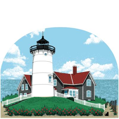 This historic Nobska Lighthouse, perched on a bluff, is located on the southwest tip of Cape Cod near Woods Hole, Massachusetts.