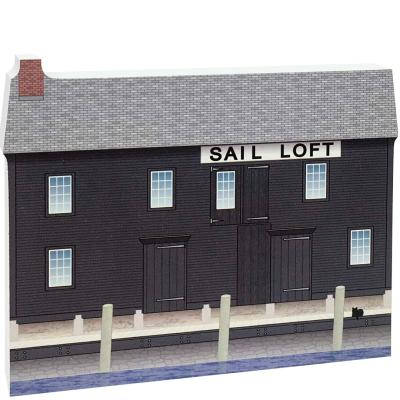 """Replica of the Pedrick Store House part of the Salem Maritime National Historic Site. Handcrafted of 3/4"""" thick wood with colorful details on the front and history on the back. Made by Cat's Meow Village in Wooster, Ohio."""