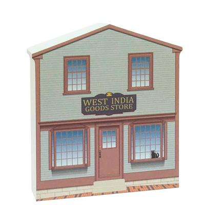 "Replica of the West India Goods Store part of the Salem Maritime National Historic Site. Handcrafted of 3/4"" thick wood with colorful details on the front and history on the back. Made by Cat's Meow Village in Wooster, Ohio."