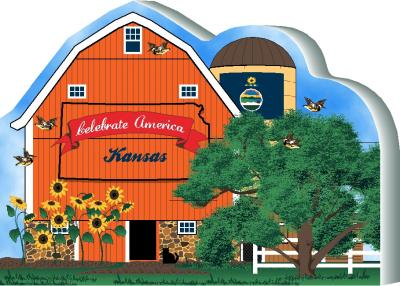 Cat's Meow Village handcrafted wooden barn keepsake representing the state of Kansas