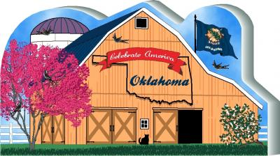 Cat's Meow Village handcrafted wooden barn keepsake representing the state of Oklahoma