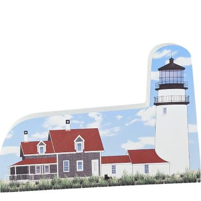 """Replica of the Highland or better known as the Cape Cod Lighthouse at North Truro, Cape Cod, Massachusetts. Handcrafted in 3/4"""" thick wood by The Cat's Meow Village in Wooster, Ohio."""