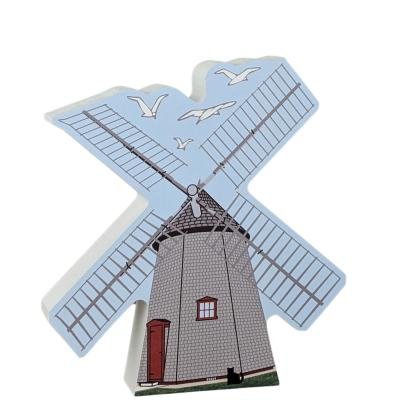 Wooden replica of the windmills of Cape Cod. Handcrafted by The Cat's Meow Village in Wooster, Ohio.