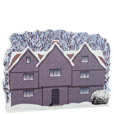 """The Witch House in Winter, Salem, Massachusetts. Handcrafted in the USA 3/4"""" thick wood by Cat's Meow Village."""
