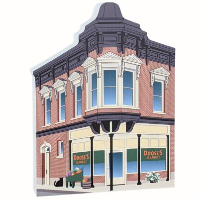 """Wooden replica of Doose's Market, Stars Hollow, Gilmore Girls, handcrafted in 3/4"""" thick wood by The Cat's Meow Village in the USA."""