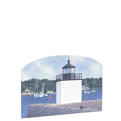 """Replica of the Derby Wharf Light part of the Salem Maritime National Historic Site. Handcrafted of 3/4"""" thick wood with colorful details on the front and history on the back. Made by Cat's Meow Village in Wooster, Ohio."""