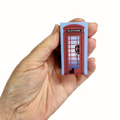"Red UK Telephone Booth  handcrafted from 3/4"" thick wood by The Cat's Meow Village in the USA"