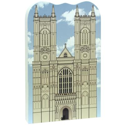 "Wooden replica of Westminster Abbey, London, England to remember your visit. Handcrafted in 3/4"" thick wood by The Cat's Meow Village."