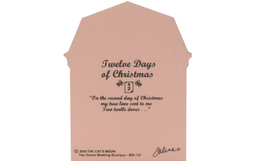 Back of Two Doves Wedding Boutique, Twelve Days Of Christmas Collection