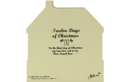 Back of Three French Hens Inn-Twelve Days Of Christmas Collection