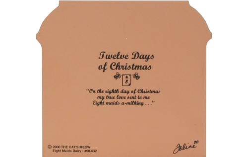 Back of Eight Maids Dairy - Cat's Meow Twelve Days Of Christmas Collection