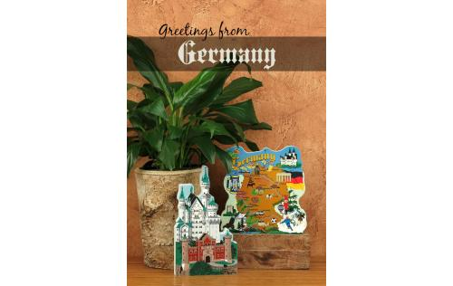 Home display of Neuschwanstein Castle and the Germany Map handcrafted from wood by The Cat's Meow Village