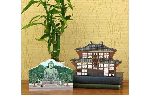 Wooden replicas of the East Great Temple and the Great Buddha handcrafted in the USA by The Cat's Meow Village