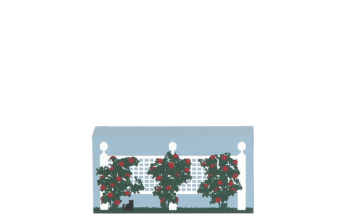 """Wooden Cat's Meow Village keepsake of the Rose Fence handcrafted of 3/4"""" thick wood in the USA."""