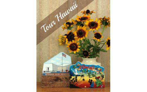 Remember your trip with a wooden keepsake of the USS Arizona Memorial to decorate your home created by The Cat's Meow Village