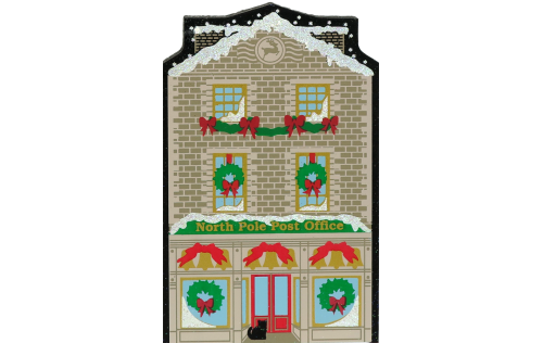 "North Pole Post office from Vintage North Pole handcrafted from 3/4"" thick wood by The Cat's Meow Village in the USA"