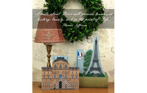 Home display of The Louvre with the Eiffel Tower and French Flag handcrafted from wood by The Cat's Meow Village