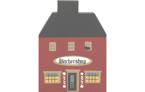 """Vintage Barbershop from Series I handcrafted from 3/4"""" thick wood by The Cat's Meow Village in the USA"""