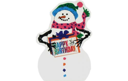 Happy Birthday Snowman, USPS Happy Birthday stamp