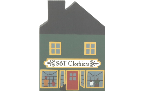"""Vintage S & T Clothiers from Series II handcrafted from 3/4"""" thick wood by The Cat's Meow Village in the USA"""