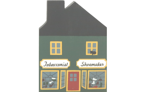 """Vintage Tobacconist/Shoemaker from Series II handcrafted from 3/4"""" thick wood by The Cat's Meow Village in the USA"""