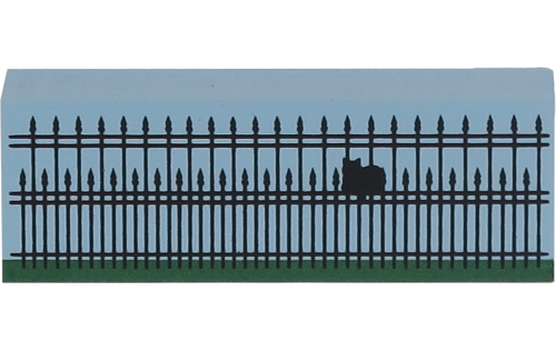 """Wooden shelf sitter décor of the 3"""" Iron Fence handcrafted in the U.S. by The Cat's Meow Village"""
