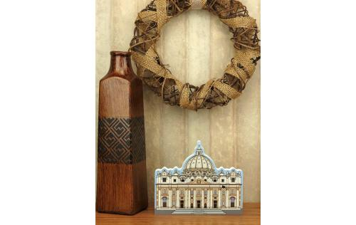 Cat's Meow handcrafted wooden keepsakes representing St. Peter's Basilica in Vatican City, Rome, Italy.