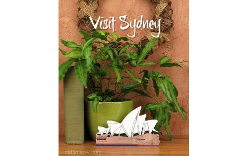 Keep memories of a great trip with a handcrafted wooden keepsake of the Sydney Opera House in Sydney, Australia by The Cat's Meow Village