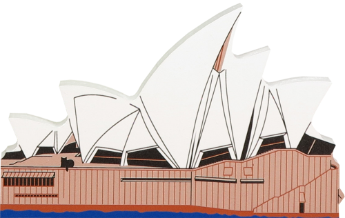 Handcrafted wooden keepsake of the Sydney Opera House in Sydney, Australia by The Cat's Meow Village