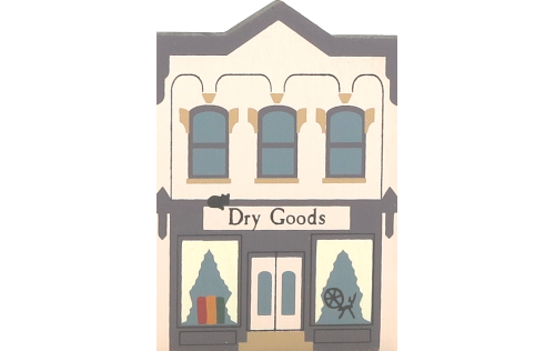"Vintage Dry Goods from Series III handcrafted from 3/4"" thick wood by The Cat's Meow Village in the USA"
