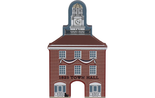 Wooden handcrafted keepsake of the 1823 Town Hall created by The Cat's Meow Village