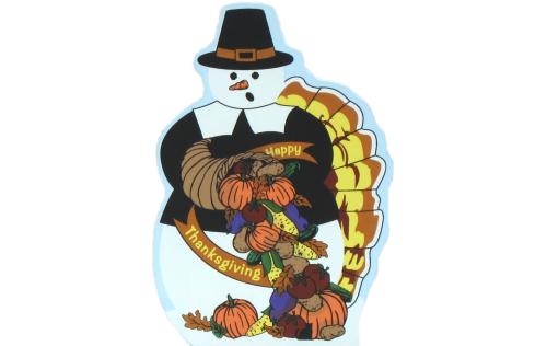 Thanksgiving Snowman with pilgrim hat, pumpkins, turkey tail