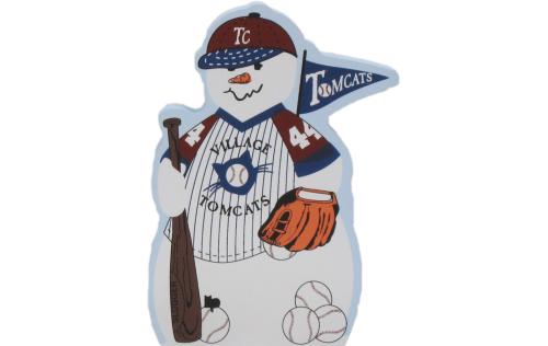Baseball Snowman, bat, ball, baseball mitt